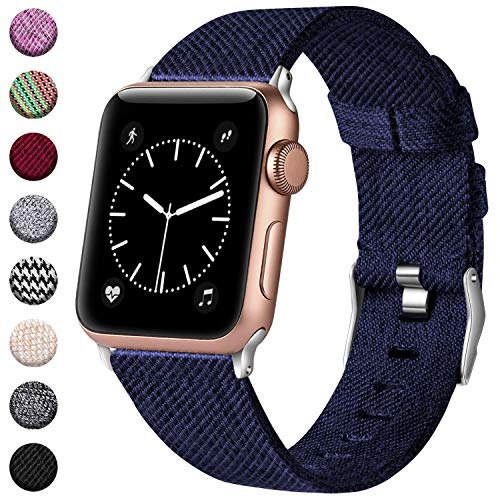 Haveda Bands Compatible with Apple Watch Band 42mm 44mm, Woven Fabric Canvas Wrist Band for Women Men with iWatch Series 4 Series 3/2/1, Blue ()