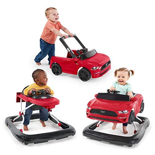 Bright Starts 3 Ways to Play Walker – Ford Mustang, Ages 6 Months +, Red