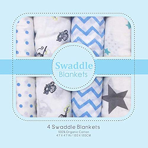 Muslin Swaddle Blankets - Soft Silky 100% Muslin Cotton Swaddle Blanket for Baby, Large 47 x 47 inches, Set of 4- Zig Zag, Polka, Star & Monkey Print in Blue Pattern