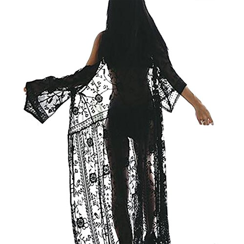 96c504364e Jahurto Women Sheer Lace Cardigan Beach Long Maxi Dress Floral Crothet  Bikini Cover up  Amazon.co.uk  Clothing