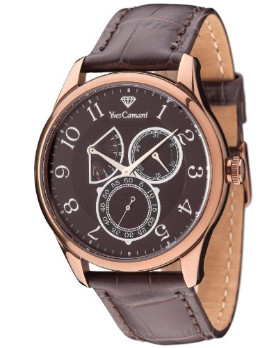 Yves Camani Roubion Retrograde Men's Quartz Watch with Brown Dial and Brown Leather Strap YC1056-E