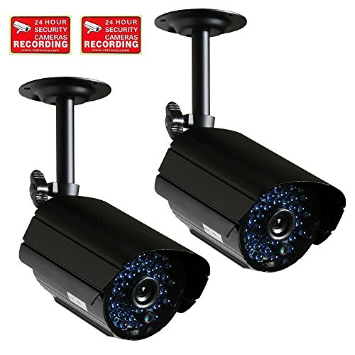 VideoSecu 2 x Outdoor CCTV Bullet Security Cameras Infrared Day Night Vision High Resolution 520TVL with IR Cut Filter Switch CCTV Surveillance MGW