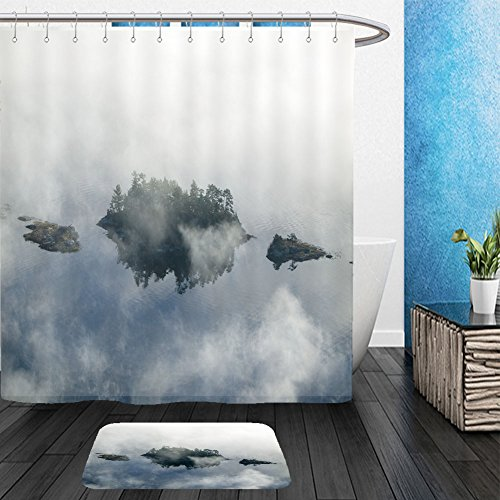 Fog Machine Toronto (Vanfan Bathroom 2?Suits 1 Shower Curtains & ?1 Floor Mats aerial view of fog in autumn over islands and hills north of portland maine 108402866 From Bath room)