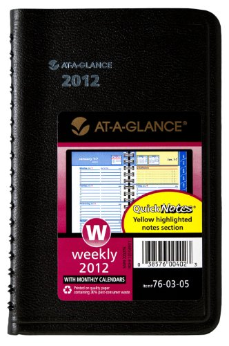 AT-A-GLANCE QuickNotes, Recycled Weekly/Monthly Appointment Book, 3 x 6 Inches, Black, (A-glance Quicknotes Recycled Weekly)