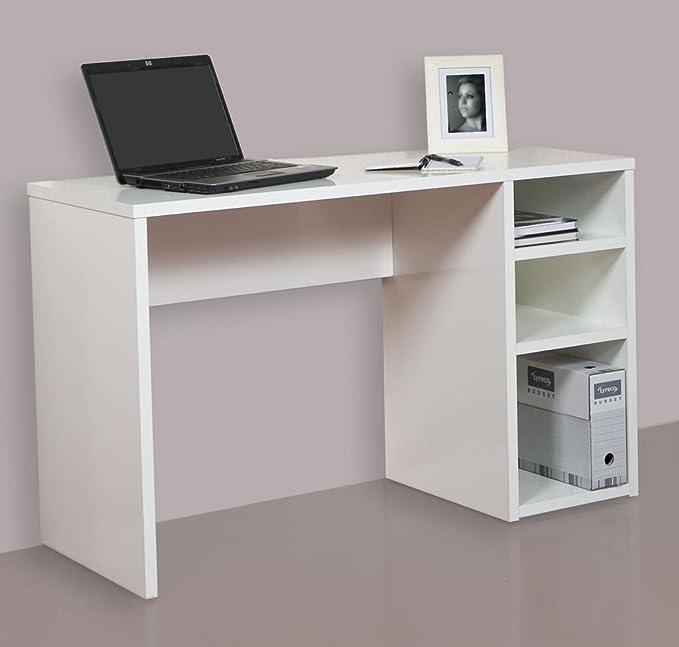 HOGAR 24 Mesa Escritorio Estudio con 3 Estantes, Blanco, 120X75X50 ...