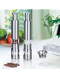 Gain 2pcs Stainless Steel Pepper & Salt Herb Mill Grinder Gourmet Cooking Set Kitchen online