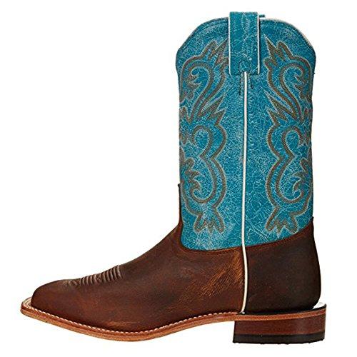 Tony Lama Kvinners Navaro 11 Høyde (7915l) | Fot Gillian Brun | Pullon Vestlige Støvler | Blå Cowboy Skinnmansjett | Laget I Usa