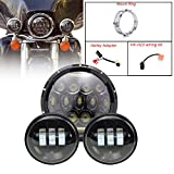 TURBO SII Harley Daymaker 7inch LED Headlight With DRL Hi/lo Beam+ 4.5inch Fog Light Passing Lamps Driving Lights for Harley Davidson Road King,Road Glide, Street Glide and Electra Glide Motorcycle light