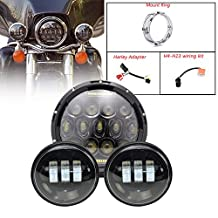 """TURBO SII 7 Inch Black Motorcycle Daymaker Led Headlights With DRL Hi/lo Beam + 2pcs 4.5"""" Inch Led Fog Lights For Harley Davidson LED Passing Lights Front Lights Driving Lamp Projecotor"""