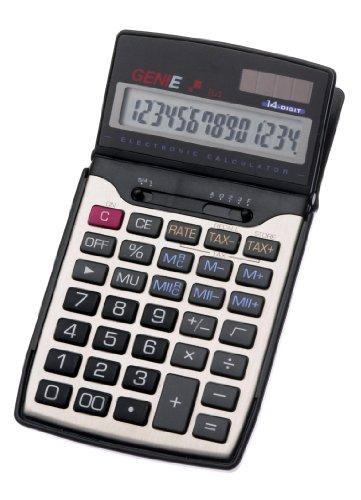 Genie 84 12-stelliger Business-Taschenrechner (Dual-Power (Solar und Batterie), Inkl. Schutzdeckel) schwarz / silber