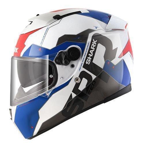 HE4752DWBRM White//Black//Red, Medium Shark Unisex-Adult Full Face Speed-R S2 SAUER II Helmet