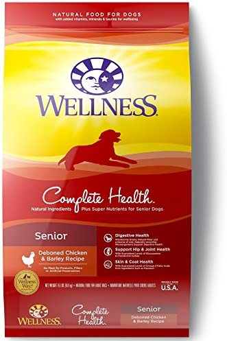 Wellness Complete Health Natural Dry Senior Dog Food, Chicken Barley, 15-Pound Bag