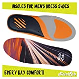 Insoles for Mens Dress Shoes :: Full Length :: Comfort :: Orthotic :: Replacement Inserts with Adaptive Arch and Gel Insert, Size (6.5, 7, 7.5, 8 or EU 39, 40, 41)