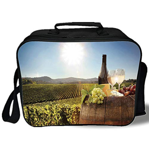 Insulated Lunch Bag,Wine,White Wine with Barrel on Famous Vineyard in Chianti Tuscany Agriculture Decorative,Green Brown Light Blue,for Work/School/Picnic, Grey