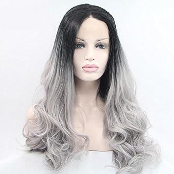 La Puntilla Haned frente de onda larga de cabello gris pelucas para mujeres encaje frente pelucas