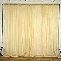BalsaCircle 10 feet x 10 feet Sheer Voile Backdrop Drapes Curtains Panels - Champagne