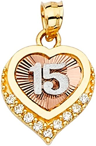 14k Tri Color Gold 15 Years Years Pendant Charm