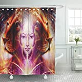 Semtomn Shower Curtain Painting Mighty Lion Head and Mystic Woman Face Bird Shower