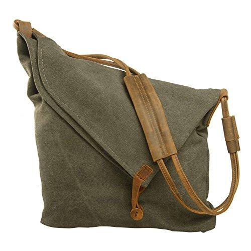 P.KU.VDSL Hobo Crossbody Bag for Women, Slouch Bag, Canvas Shoulder Bag, Flap Ladies Cross Body Bags for School Shopping Armygreen