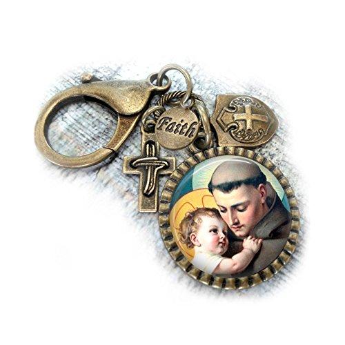 (San Antonio, St. Anthony of Padua Keychain or Backpack Clip, Catholic Patron Saint Gift, Confirmation Boys Teens Men Unisex, Key Chain)