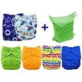 Babygoal Cloth Diaper Covers,Adjustable Reusable Covers, Cloth Diaper Covers For Fitted Diapers And Prefolds, 6pcs Baby Boy Cloth Covers 6DCF03-CA