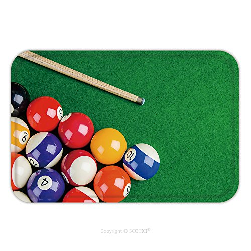 Flannel Microfiber Non-slip Rubber Backing Soft Absorbent Doormat Mat Rug Carpet Billiard Balls On Green Table With Billiard Cue Snooker Pool Game 282059312 for Indoor/Outdoor/Bathroom/Kitchen/Worksta (Sale Tables Tampa For Pool)