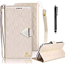 Samsung Galaxy Note 4 Cover, Bonice Luxury Premium Wallet Bling Glitter Book Style [Wrist Strap] Phone Case PU leather Magnetic Closure Flip Stand Anti-scratch Cover Skin + Metal Stylus Pen, White