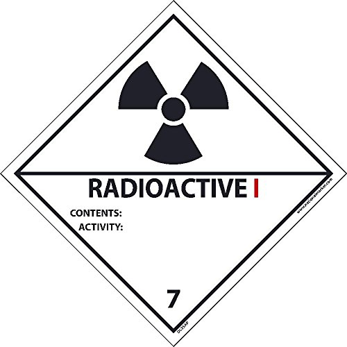 DL25ALV National Marker Dot Shipping Label, Radioactive 1, 7, 4 Inches x 4 Inches, Ps Vinyl 500/Roll by National Marker