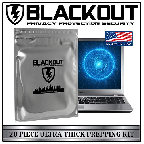 - BLACKOUT Faraday Cage EMP Bags Premium Ultra Thick 20pc Prepping Kit Laptops Tablets Smartphones Hard Drives