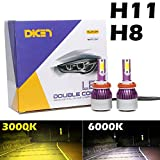 H11 LED Fog Light Bulb Yellow 3000K + Pure White 6000K Dual Color in 1, 12000LM Bright Replacement Lamp Accessories, 2 Year Warranty