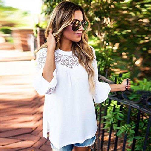 ... Amlaiworld Chiffon Spitze Flickwerk T-shirt Damen sommer locker basic  Oberteile mode strand Tops Bluse ... 230e714b85