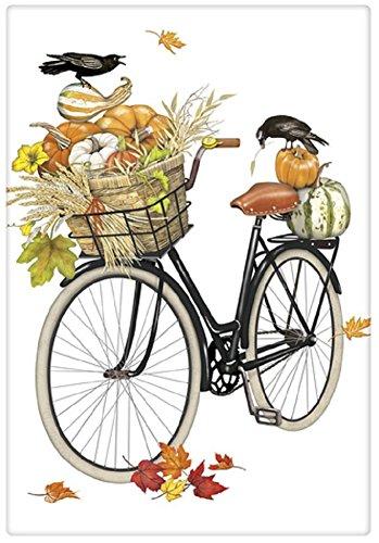 Mary Lake Thompson Flour Sack Towel Bike, Pumpkins in Basket, Fall Leaves, Crow - Fall Leaf Basket