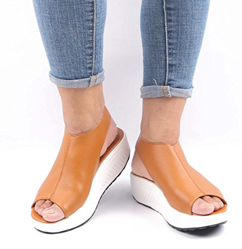 Mule Toe Color Shoes Wedge Peep Women Ankle Platform Casual Leather Shoes Strap Heel Yellow dt4qUw