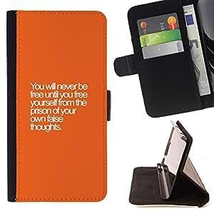 BullDog Case - FOR/Samsung Galaxy Core Prime / - / free prison thoughts wise text orange /- Monedero de cuero de la PU Llevar cubierta de la caja con el ID Credit Card Slots Flip funda de cuer