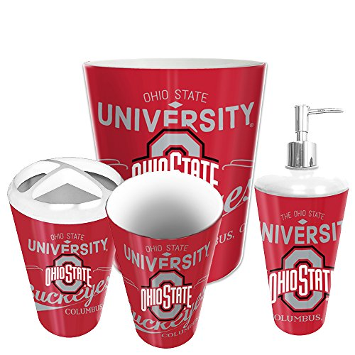 Ohio State Buckeyes Toothbrush - Northwest Ohio State Buckeyes NCAA 4 Piece Bathroom Decorative Set (Panel Series)
