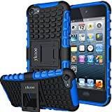 ykooe iPod Touch 5 Case,Touch 6 Case, Heavy Duty Protective Cover Dual Layer Hybrid Shockproof Protective Case with Stand for Apple iPod Touch 5 6 (Blue)