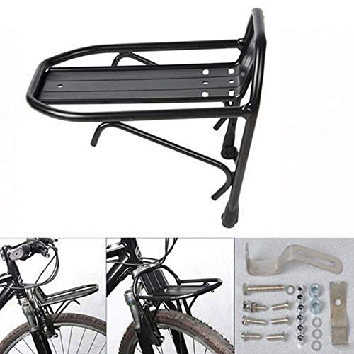 Lijuan Qin Bicycle Front Rack for 24ich to 28ich Wheel Bike Cargo Luggage Bicycle Cycling Aluminum Bike Front Racks Carrier Black Alloy Bike Front Shelf
