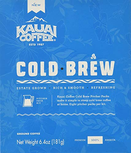 Kauai Coffee Cold Brew Pitcher Packs - 100% Premium Arabica Coffee - Rich, Smooth, Slightly Sweet Cold Brew Coffee with Chocolate Notes - Make Your Own Cold Brew Coffee at Home, 6.4 Ounce (8 Packets)