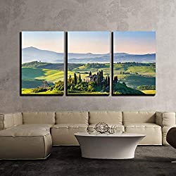 """wall26 - 3 Piece Canvas Wall Art - Beautiful Spring Landscape in Tuscany, Italy - Modern Home Decor Stretched and Framed Ready to Hang - 24""""x36""""x3 Panels"""