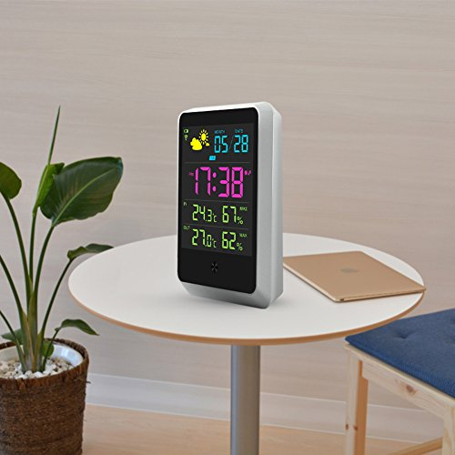 Indoor outdoor wireless connection weather station lcd display digital temperature and humidity - Thermometre connecte wifi ...