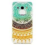 Samsung Galaxy J3(2017) Case,JIEJIEWYD TPU Silicone Gel Soft Clear Case Cover for Samsung Galaxy J3(2017) - orange green Tribal Mandala