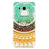Huawei P10 Lite Case,JIEJIEWYD TPU Silicone Gel Soft Clear Case Cover for Huawei P10 Lite - orange green Tribal Mandala