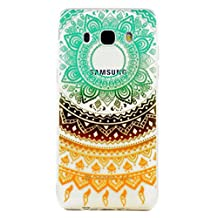 Huawei P10 Case,JIEJIEWYD TPU Silicone Gel Soft Clear Case Cover for Huawei P10 - orange green Tribal Mandala
