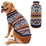 PUPTECK Dog Sweater Vintage Fair Isle Designer Puppy Coat Large Blue & Orange