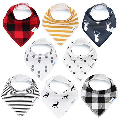 KiddyStar Bandana Baby Bib Set, Drool Bibs for Boys and Girls, Baby Shower Gift for Newborns, Organic Cotton, Soft and Absorbent, Stylish and Unisex, Drooling and Teething, Bandana Bibs (Bandana - Cloth Burp Newborn Toddler