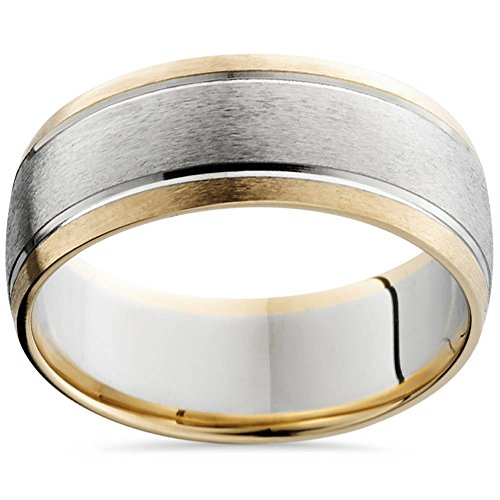 (8mm Mens 14K White & Yellow Gold Sandblast Double Inlay Wedding Band - Size 9.5)