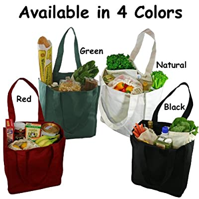 Deluxe Organic Cotton Grocery Bag with Bottle Sleeves by Simple Ecology