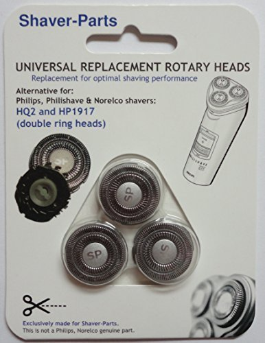 Norelco's compatible Shaving Heads HP1917 or HQ2, Alternative (Fits) for older Norelco (Philips) Shavers Shaver-Parts 6669000250