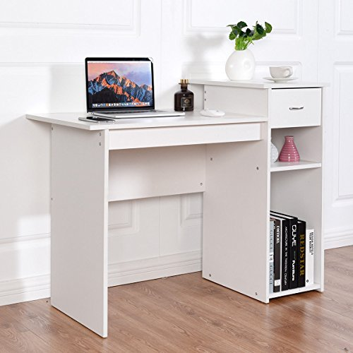 Tangkula Computer Desk Home Office Wooden PC Laptop Desk Modern Simple Style Wood Study Workstation Writing Table with Storage Drawer & Shelves Wooden Furniture
