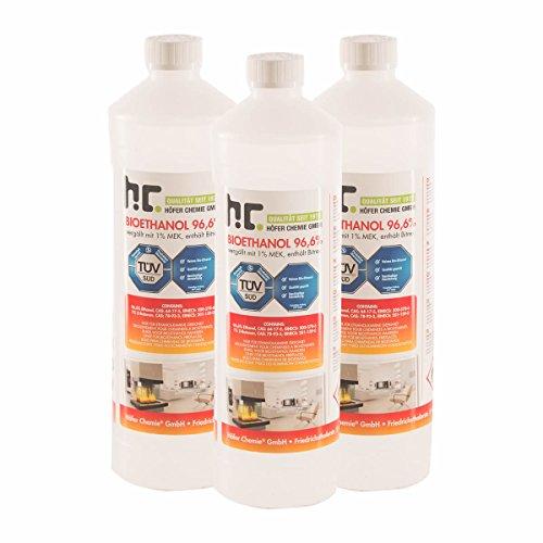 6 x 1 L Bio Ethanol Premium 96,6% für Kamin - versandkostenfrei - 1 L Flaschen für den sicheren Gebrauch zuhause - TÜV SÜD zertifiziert